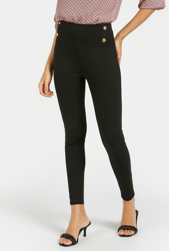 Solid Skinny Fit Mid-Rise Ponte Pants with Elasticated Waistband