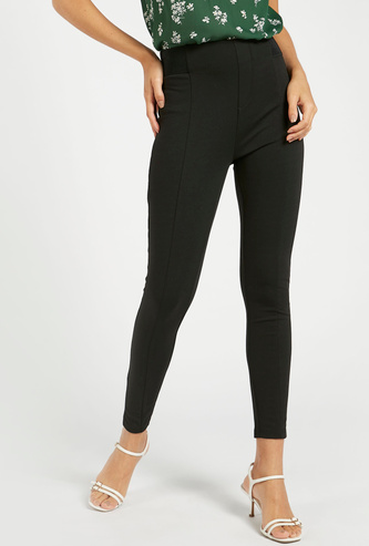 Mid-Rise Skinny Fit Solid Ponte Pants with Elasticised Waistband