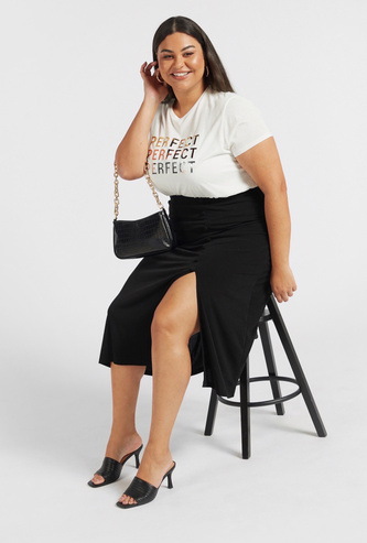 Solid Midi A-line Skirt with Button Detail and Front Slit