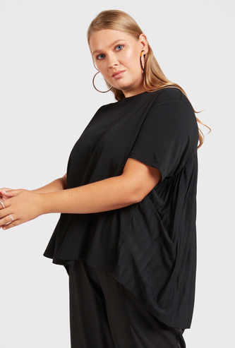 Solid Top with Back Pleat Detail and Short Sleeves