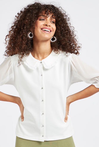 Solid Peter Pan Top with 3/4 Sleeves and Ruffle Detail