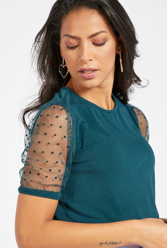 Solid Top with Round Neck and Mesh Detail Sleeves