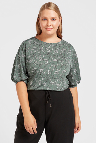 All-Over Floral Print Top with Round Neck and Volume Sleeves