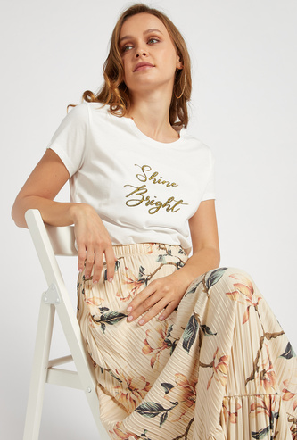 Text Embroidered Round Neck T-shirt with Cap Sleeves
