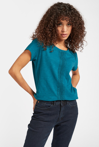 Textured Round Neck T-shirt with Cap Sleeves