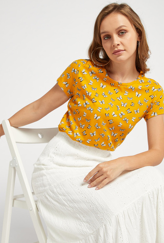 All-Over Butterfly Print Round Neck T-shirt with Cap Sleeves