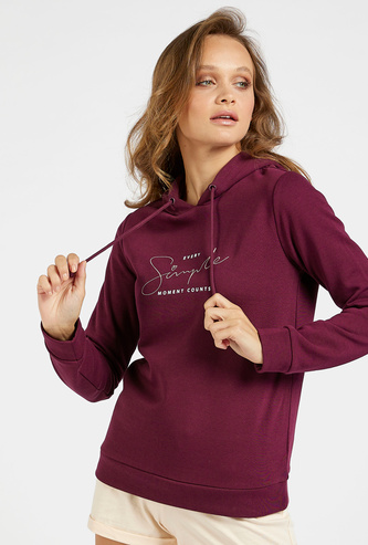 Printed Sweat Top with Hood and Long Sleeves