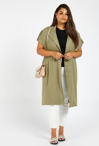 Solid Longline Jacket with Pockets and Short Sleeves