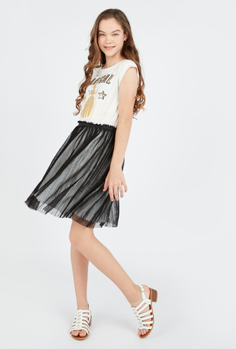 Embellished Princess Knee Length Dress with Round Neck and Cap Sleeves