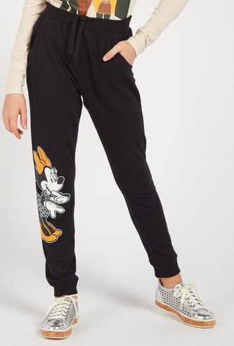 Minnie Mouse Print Full Length Joggers with Drawstring Closure