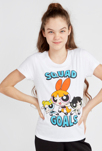 Power Puff Girls Print T-shirt with Round Neck and Short Sleeves