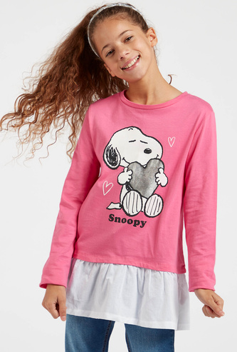 Snoopy Graphic Print T-shirt with Round Neck and Long Sleeves