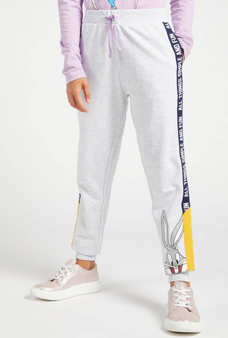 Bugs Bunny Print Jog Pants with Drawstring and Pocket Detail
