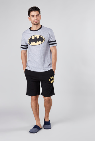 Batman Printed Round Neck T-shirt with Shorts