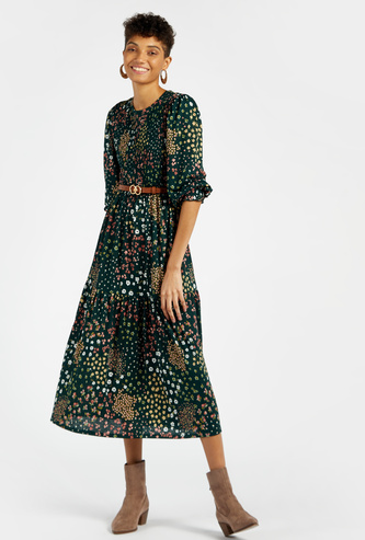 Printed Midi A-line Dress with Tiered Detail and Long Sleeves