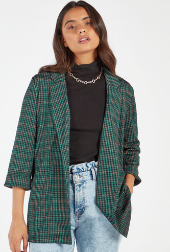 Checks Print Lapel Collared Jacket with 3/4 Sleeves