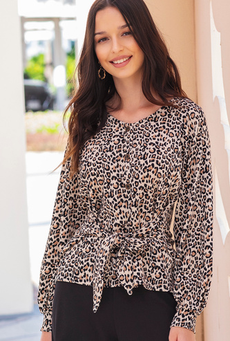 Animal Print V-neck Top with Long Sleeves and Tie-Ups