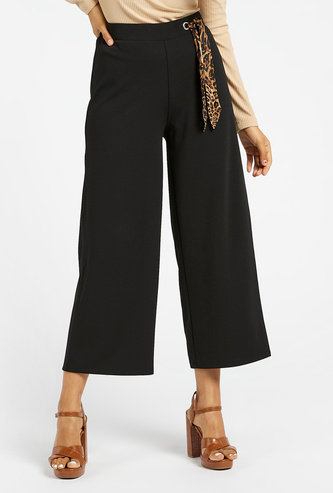 Solid Mid-Rise Culottes with Animal Print Tie-Ups