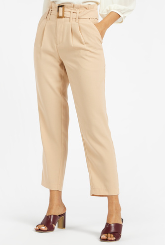Tapered Ankle Length Solid Trousers with Pockets and Paper Bag Waist