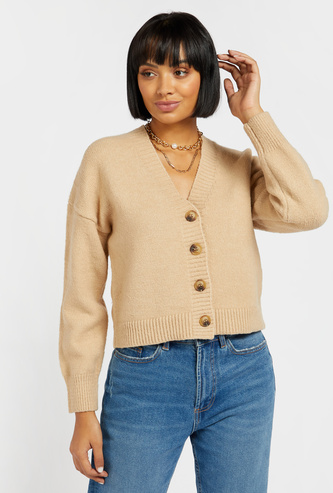 Textured Cardigan with V-neck and Long Sleeves