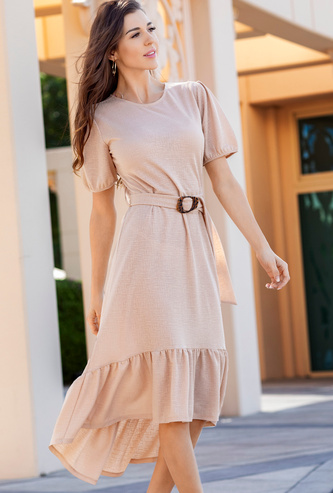 Textured Round Neck Asymmetric Dress with Short Sleeves and Frilly Hem
