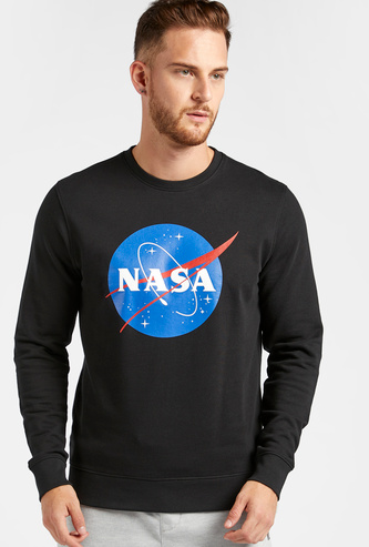 NASA Graphic Print Sweatshirt with Crew Neck and Long Sleeves