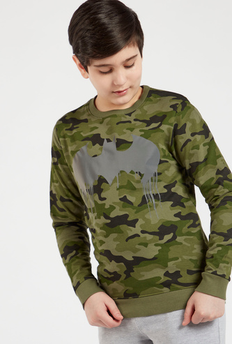 Camouflage Print Sweatshirt with Batman Logo and Long Sleeves