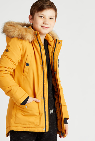 Solid Hooded Jacket with Long Sleeves and Zip Closure