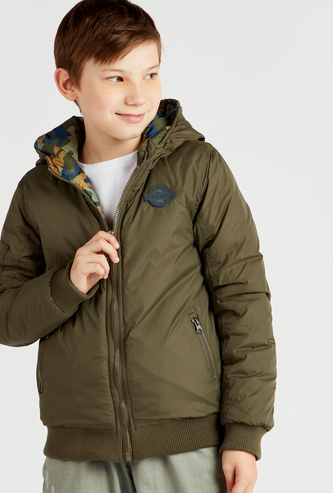 Reversible Hooded Jacket with Long Sleeves and Pockets