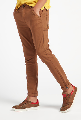 Solid Full Length Chinos with Button Closure and Pockets