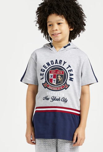 Embroidered Sweatshirt with Hood and Short Sleeves