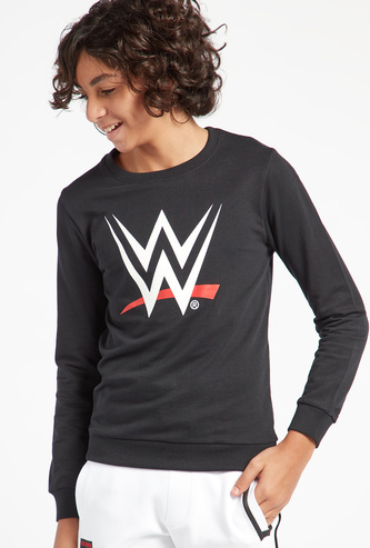 WWE Graphic Print Sweatshirt with Round Neck and Long Sleeves