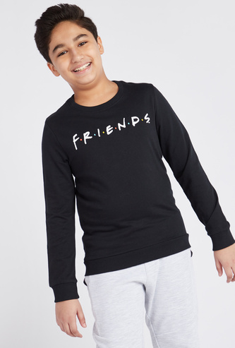 Friends Print Sweatshirt with Long Sleeves