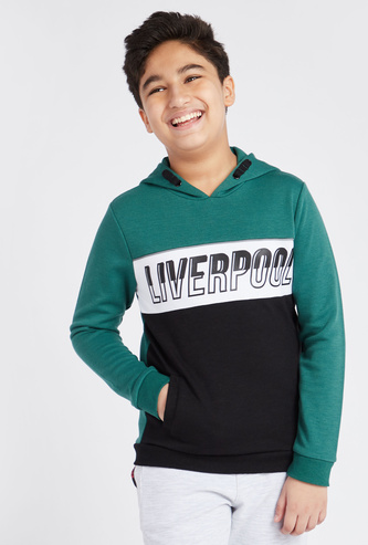 Typographic Print Hoodie with Long Sleeves and Pockets