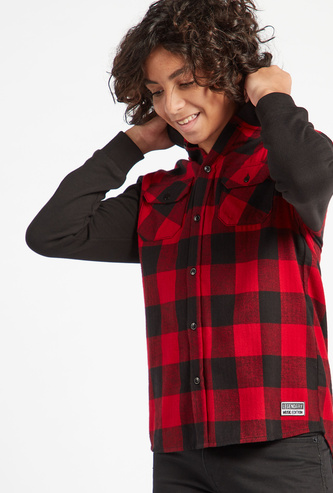 Checked Hooded Neck Shirt with Long Sleeves and Chest Pockets