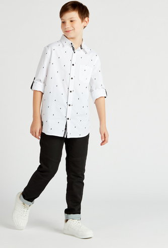Printed Long Sleeves Shirt with Collar and Chest Pocket