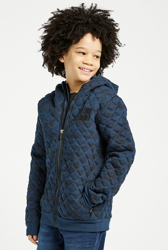 Quilted Jacket with Hood and Long Sleeves