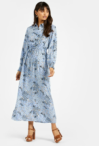 Printed Maxi Dress with Spread Collar and Long Sleeves