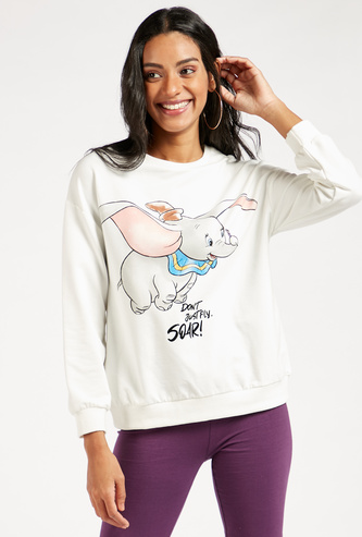 Dumbo Graphic Print Sweatshirt with Round Neck and Long Sleeves