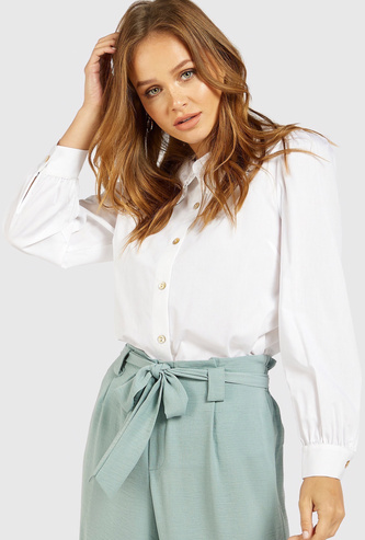 Solid Top with Peter Pan Collar and Long Sleeves