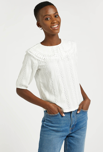 Schiffli Detail Top with Round Neck and Short Sleeves