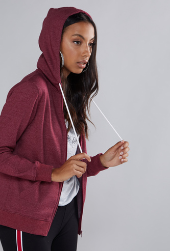 Pocket Detail Hoodie with Long Sleeves and Zip Closure