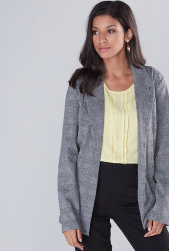 Chequered Jacket with Long Sleeves and Button Closure