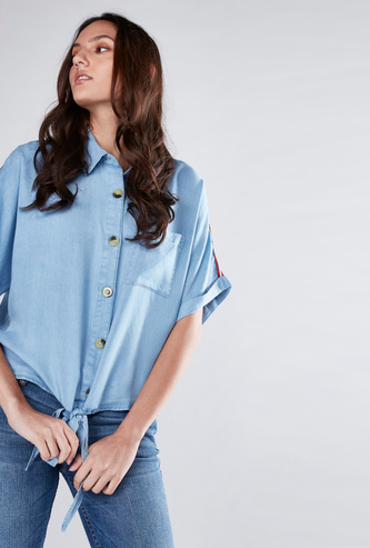 Front Knot Shirt with Tape Detail and Chest Pocket