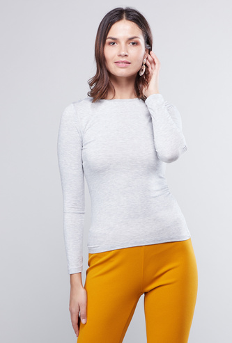 Solid Round Neck Warm Fabric T-shirt with Long Sleeves