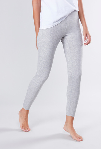 Solid Ankle Length Warm Fabric Leggings with Elasticated Waist