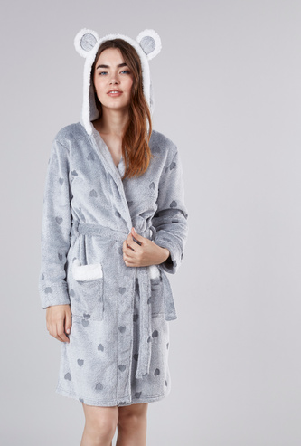 Cozy Collection Textured Robe with Long Sleeves and Hood