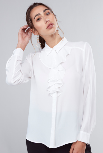 Solid Spread Collared Shirt with Long Sleeves and Curved Hem