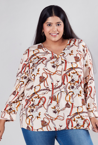 Printed Top with V-neck and Long Sleeves