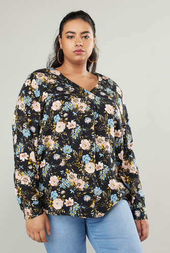 Floral Print V-Neck Top with Long Sleeves